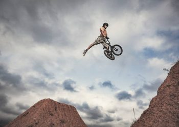 BMX rider jumping high Real jump