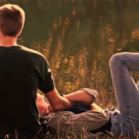 pair, autumn, evening sun